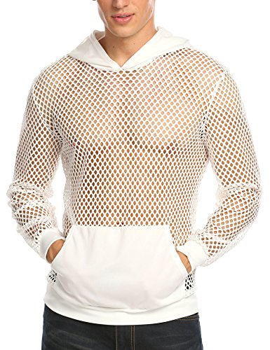 COOFANDY Mens Long Sleeves Muscle See Through Sexy Mesh Transparent Shirt with ()