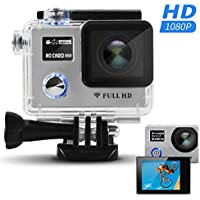[With Remote Control] Wireless Waterproof Sports Camera - HEIHEI F88BR 1080P FHD Dual Screen 170 Degree Adjustable Wide Angle Lens Sports Action Camera Diving Cam DV Camcorder with Accessories Kit