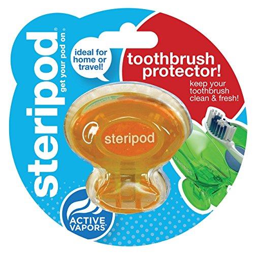 Steripod Clip-On Toothbrush Sanitizer, Orange, 2-pack