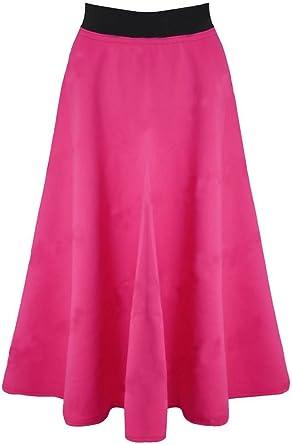 Falda larga, elástica, acampanada, para oficina Rosa fucsia Small ...