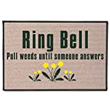 WHAT ON EARTH Ring Bell, Pull Weeds Doormat - Indoor/Outdoor Olefin Welcome Mat