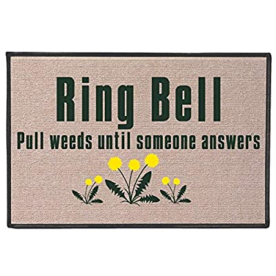 WHAT ON EARTH Ring Bell, Pull Weeds Doormat - Indoor/Outdoor Olefin Welcome Mat