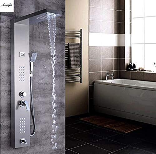 PATNICK Duschsystem Gebürstetes Nickel-Finish Massage Jet Tankless Regendusche Turm Badezimmer Regendusche Panel