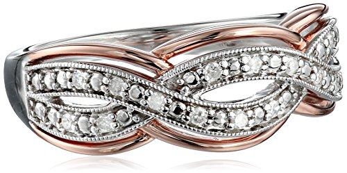 Twisted Diamond Wedding Ring (10k White Gold with Pink Gold Plated 1/10cttw White Diamond Twisted Ring, Size 6 )