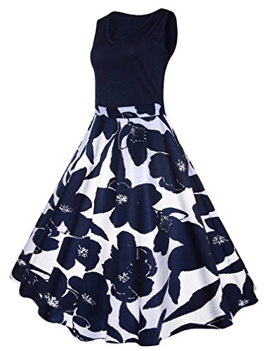 Vanbuy Women's V Neck Sleeveless 1950s Floral Print Vintage Rockabilly Swing Tea Party Dress Plus Size Z167-Navy Floral-2XL