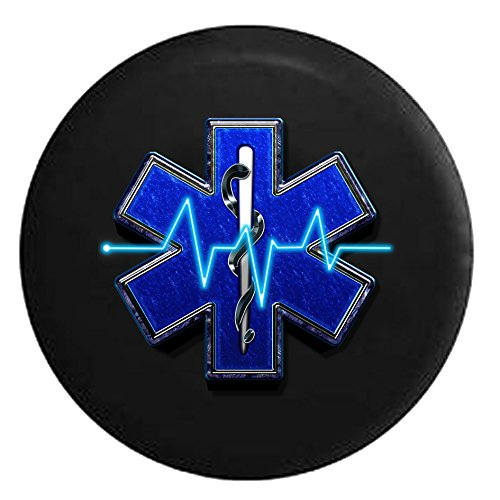 EMS Emergency Medical Logo Snake Around Staff HeartrateSpare Tire Cover Black 33 in