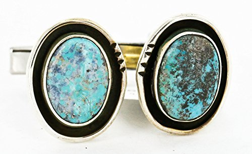 $280Tag Certified Silver Navajo Natural Turquoise Native American Cuff Links 19110-2 Made by Loma Siiva ()