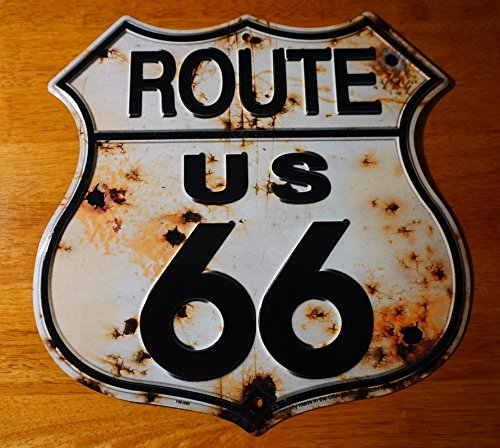 (Rustic Bullet Hole Route 66 Tin Sign Retro Highway Home Gas Station Decor)