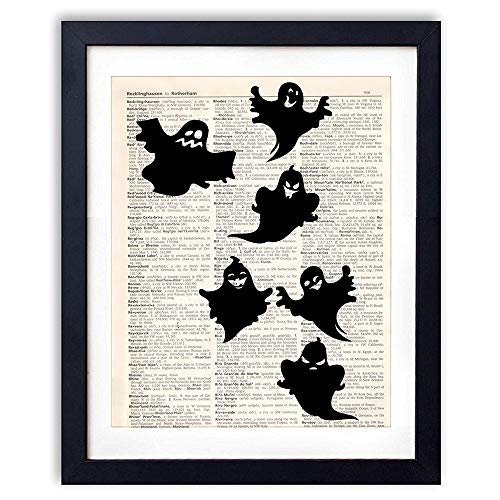 akeke Halloween Decor Vintage Book Art Prints - Cute Ghost Decoration Poster 8