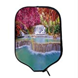 YOLIYANA Waterfall Decor Durable Racket Cover,Rain Forest in Vietnam Laos with Asian Pink and Orange Trees Side of River Image for Sandbeach,One Size