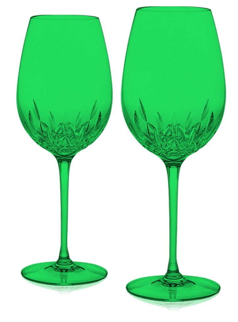 Christmas Tablescape Décor - Emerald green Waterford Crystal Lismore Essence red wine goblets - Set of 2