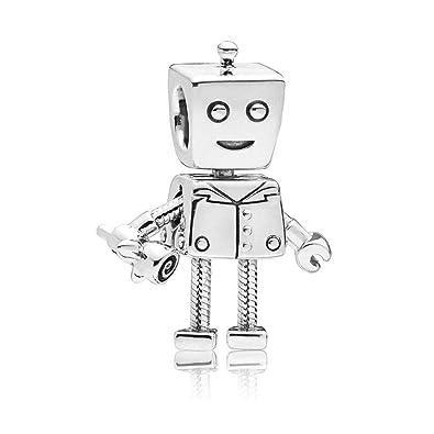 99fc721ee Amazon.com: Romántico Amor Rob Bot Dangle Charm 925 Sterling Silver Movable  Robot Bead for Pandora Bracelets: Jewelry