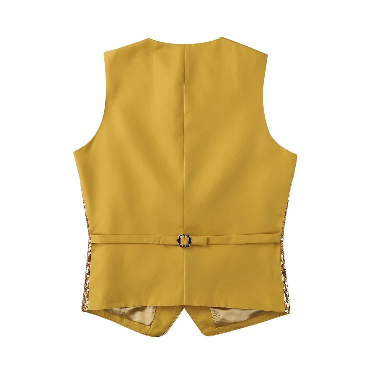 inlzdz Mens Shiny Sequins V-Neck Vest Paillette Waistcoat Slim Fit Business Party Dress Suit