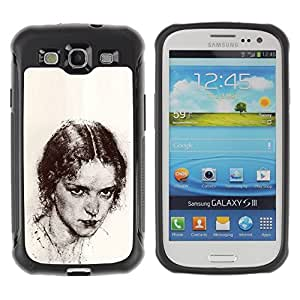 Suave TPU GEL Carcasa Funda Silicona Blando Estuche Caso de protección (para) Samsung Galaxy S3 III I9300 / CECELL Phone case / / Beautiful Girl Pencil Coal /