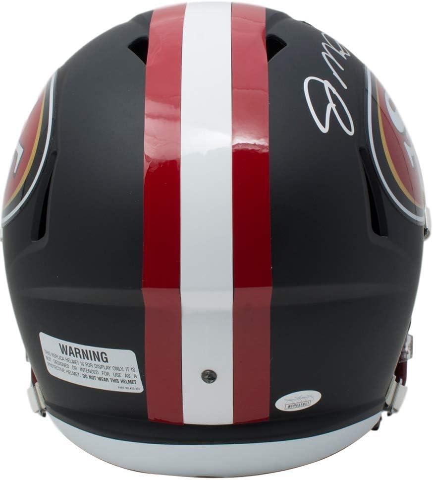 Joe Montana Signed San Francisco 49ers Full Size Matte Black Speed Replica Helmet JSA