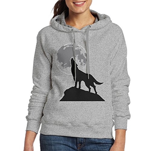 LOYRA Women's Wolf Under Moon Hoodie Size XL Ash ()
