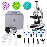 TELMU Microscope for Kids and Beginners Includes 70pcs+ Accessory Set, 300X-600X-1200X Magnification...