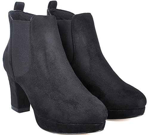 Salabobo Job Comfort Nightclub Black 1RB Platform Ankle Ladies Round Toe Block Chukka 788 Boots OL Bride Heel Wedding rwq8rX
