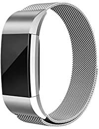 for Fitbit Charge 2 Band –Erencook Stainless Steel Magnet Metal Replacement Bracelet Strap for Women Men (Silver)