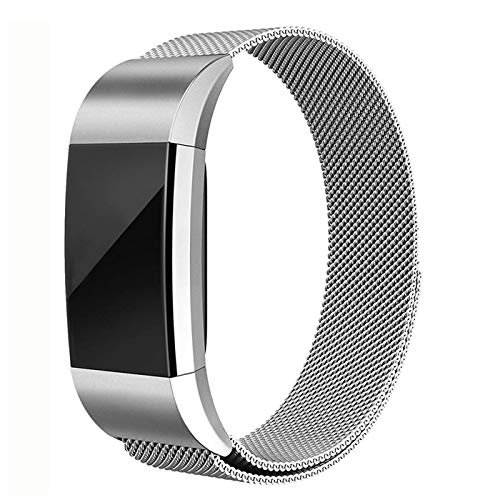 for Fitbit Charge 2 Band -Erencook Stainless Steel Magnet Metal Replacement Bracelet Strap for Women Men (Silver)