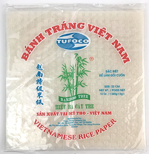 Bamboo Tree Square Spring Roll Rice Paper Wrappers, 22cm (3 Packs) ()