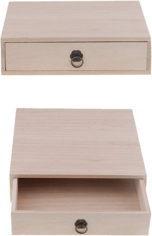 2X Caja De Almacenamiento De Cajones De Almacenamiento De Madera Organizador De Joyas Caja De Té De Madera: Amazon.es: Hogar
