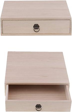 P Prettyia Caja De Madera De Cajón De Madera Llana 2X, Caja De Almacenamiento De Té, Joyero, Estuche De Organizador: Amazon.es: Hogar