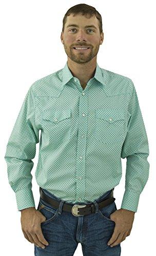 STARR Men's Western Long Sleeve Print Snap Shirt SWPS100L-176-MINTPOINT-Size-L (Starr Green)