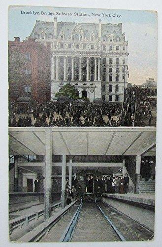VINTAGE 1914 POSTCARD BROOKLYN BRIDGE SUBWAY STATION NEW YORK CITY RAILROAD