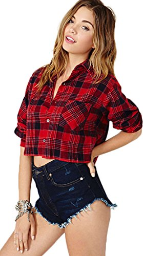 Lovelelify Women's Vintage Short Red Plaid Flannel Shirt Medium