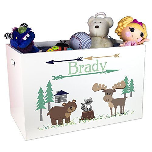 Personalized North Woodland Animals Toy Box by MyBambino