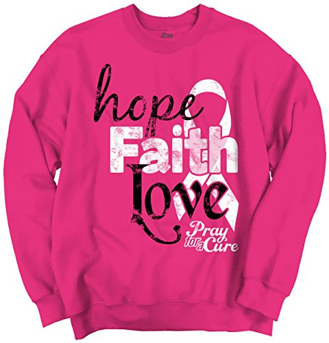 Hope Faith Love Breast Cancer Awareness Support Pink Ribbon Sweatshirt
