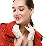 Nappaglo Women's Fingerless Leather Gloves Nappa Leather Half Finger Fitness Outdoor Driving Motorcycle Gloves