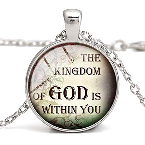Jude Jewelers Retro Vintage The Kingdom of GOD is Within You Chrisitan Religious Bible Verse Necklace Pendant (Silver)