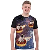 Pug Donut Riders in Space Novelty Cute Funny Dog Lover Unisex Mens T Shirt - M