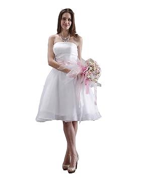 Vestido de novia de organza sin tirantes moderno (marfil)
