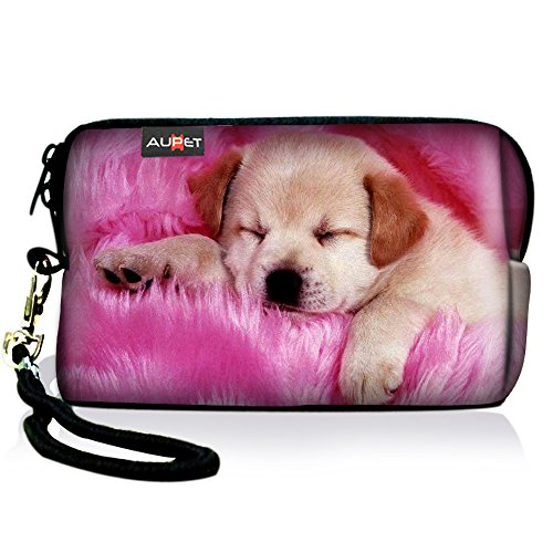AUPET Pink Dog Digital Camera Case Bag Pouch Coin Purse with Strap for Sony Samsung Nikon Canon Kodak (Nikon Pink Camera Bag)