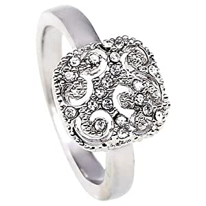 Elementesse Women's Silver Plated Stainless Steel Ring - 7 US