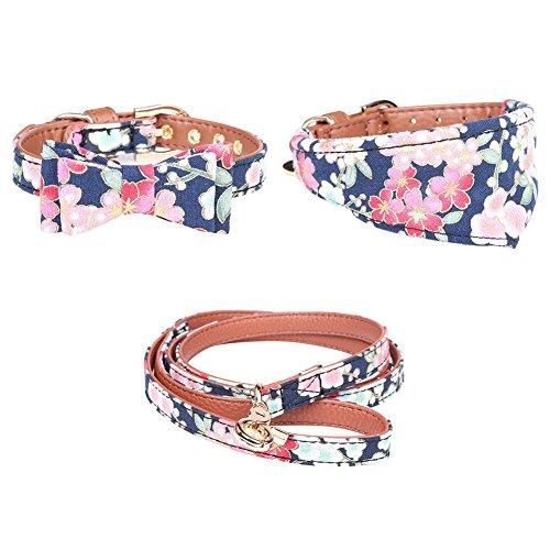 PanDaDa Pet Collars Leash Dog PU Bandana-Style Triangle Bow Tie Collar Necklace Pet Leash Collar Harness Set
