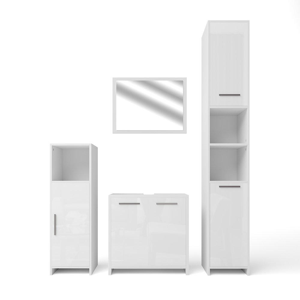 VICCO Badmöbel Set KIKO Weiß Hochglanz   Grau Beton - Badspiegel + Unterschrank + Bad Hochschrank + Bad Midischrank (Weiß Hochglanz, Set 4)
