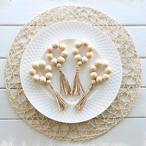 Elehere Beaded Napkin Rings Set of 12 Tassel Napkin Holder Boho Table Decor Gift Eco-Friendly Jute Twine Handmade