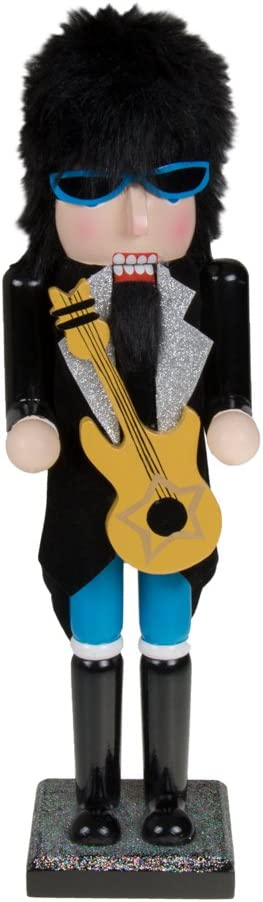 """Clever Creations Wooden Collectible 80's Rockstar Nutcracker Holding Guitar   Rocker Sunglasses and Hair   Christmas Decor   15"""" Tall Perfect for Shelves and Tables   100% Wood"""