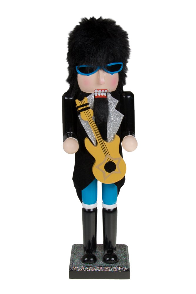 Wooden Collectible 80's Rockstar Nutcracker by Clever Creations | Holding Guitar | Rocker Sunglasses and Hair | Christmas Decor | 15'' Tall Perfect for Shelves and Tables | 100% Wood