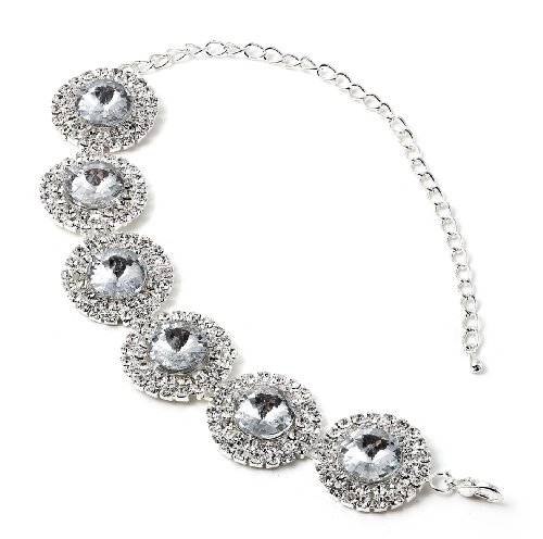 Silver Crystal Rhinestones around a Circle Crystal Stone Insert Bracelet