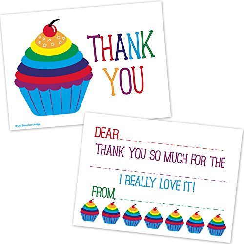 Rainbow Cupcake Kids Fill In Thank You Cards - Birthday Thanks (20 Count with ()