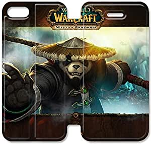 Flip Folio Leather Case for iPhone 5 5s Cell Phone Case World Of Warcraft Mists Of Pandaria VVB1711240
