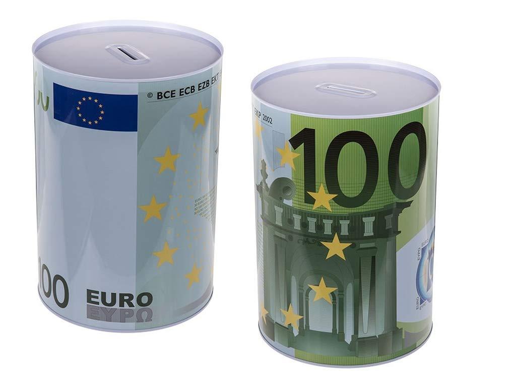 Sconosciuto Grande barattolo salvadanaio in metallo, motivo: banconota da 100 euro, dimensioni: 22 x 15 cm
