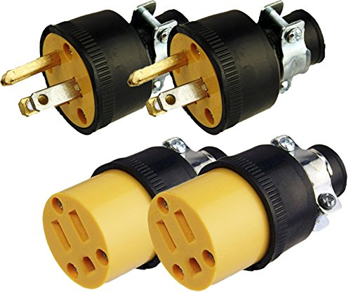 Black Duck Brand Male & Female Extension Cord Replacement Electrical Plugs End (4 Pieces)