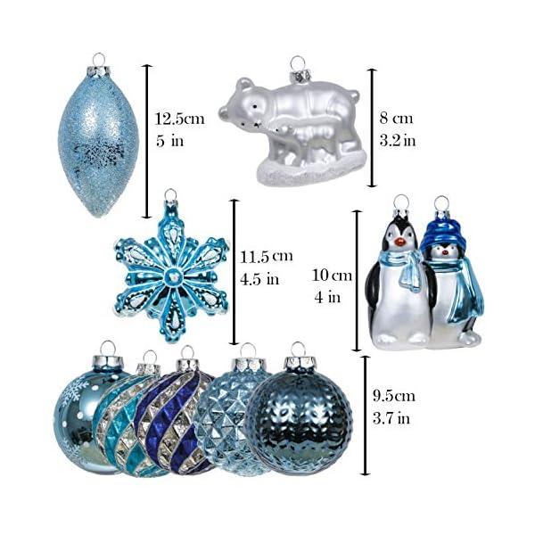 Valery Madelyn Palle di Natale Vetro Addobbi Natalizi Set, 10 Pezzi 8-12cm White And Blue Palline di Natale Decoration for Addobbi Natalizi per Albero 2 spesavip