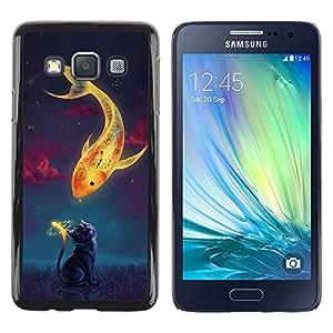 Shell-Star Arte & diseño plástico duro Fundas Cover Cubre Hard Case Cover para Samsung Galaxy A3 / SM-A300 ( Beautiful Magic Koi Fish & Cat )